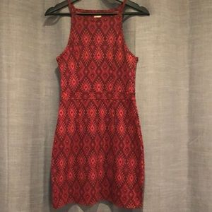 Red Geometric Hollister Bodycon Dress
